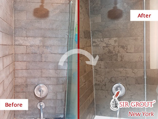 Before and After Image of a Shower After a Stone Cleaning in Long Island City