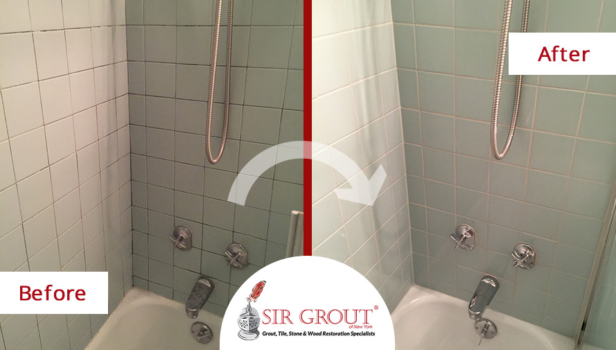 Shower Grout Cleaning and Sealing Brings Manhattan Bathroom Back to Life - Before and After