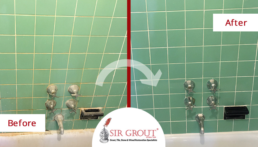 Tile and Grout Cleaning Job Transformed Dingy Cobble Hill Bathroom - Before and After