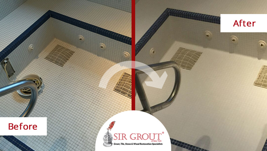 Before and After Picture of a Grout Sealing Service in Williamsburg, NY