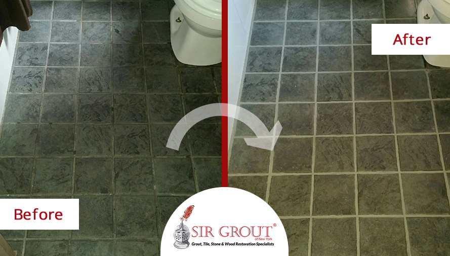 Before and After Picture of a Bathroom Floor Grout Cleaning and Sealing Service in Manhattan, NY