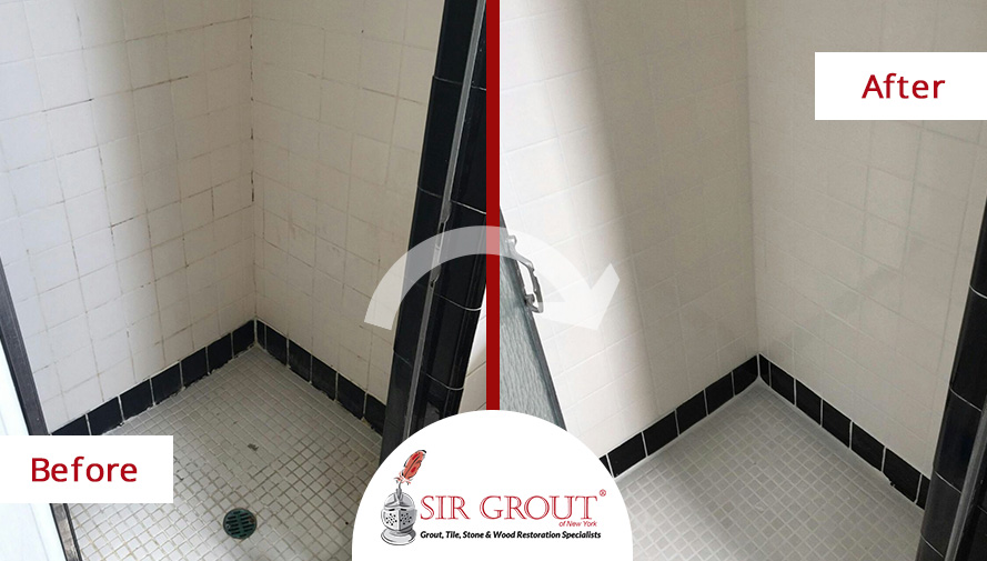Before and After Picture of a Grout Cleaning and Sealing Service in Forest Hills, NY