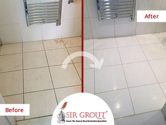 Before and After Picture of a Shower Cleaning and Polishing Service in Manhattan, NY
