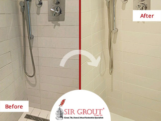 Before and After Picture of a Grout Cleaning Service in Williamsburg, Brooklyn