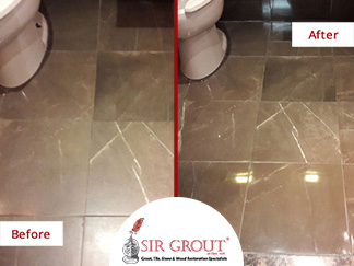 Before and After Picture of a Stone Polishing Service in Williamsburg, Brooklyn
