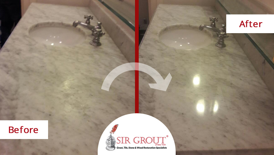 Before and After of a Stone Polishing Service in Dumbo, New York