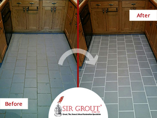 Before and After Picture of a Grout Recoloring Service in Forest Hills, New York