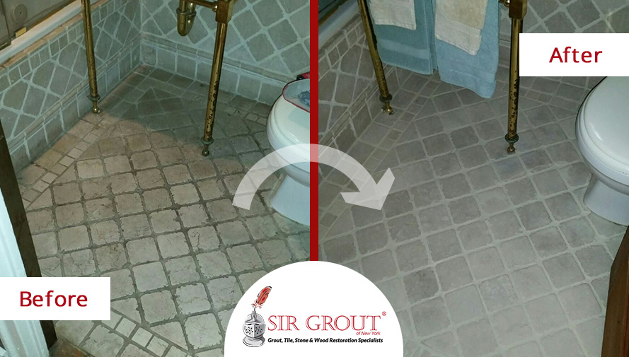 Before and After Picture of a Stone Cleaning Service in Manhattan, NY