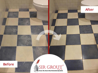 Before and After Picture of a Bathroom Stone Honing and Polishing Service in Manhattan, New York