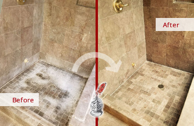 Before and After Picture of a Stone Shower Floor Maintenance Service