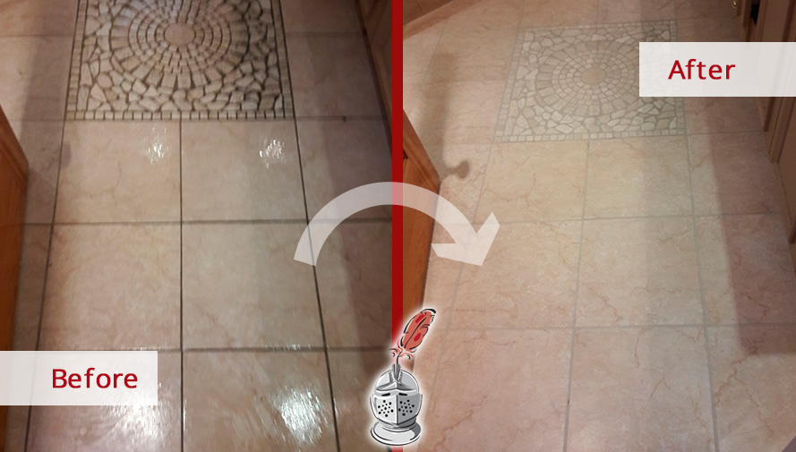 Before and After Picture of a Kitchen Grout Sealing in Maspeth, New York