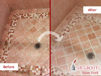 Before and After Picture of a Shower Floor Grout Sealing in Maspeth, New York