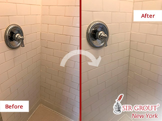 Before and After Picture of a Tile Bathroom Grout Sealing Service in Soho, New York