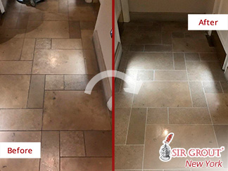 Before and After Picture of a Limestone Floor Grout Sealing Service in Manhattan