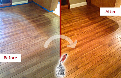 Before and After Picture of a Floral Park Wood Sand Free Refinishing Service on a Dull Floor to Recover Its Sheen