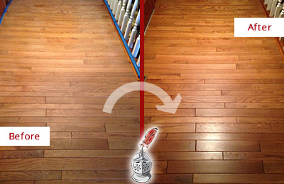 Before and After Picture of a Floral Park Wood Sand Free Refinishing Service on a Dull Hallway