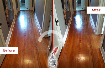 Before and After Picture of a Floral Park Wood Sand Free Refinishing Service on a Floor to Eliminate Scratches
