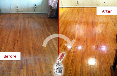 Before and After Picture of a Floral Park Wood Sand Free Refinishing Service on a Stained Floor