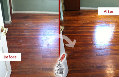 Before and After Picture of a Floral Park Wood Sand Free Refinishing Service on a Dull Floor to Remove Stains