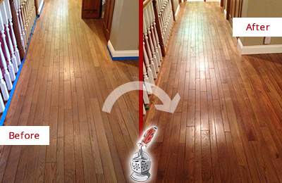 Before and After Picture of a Floral Park Wood Sand Free Refinishing Service on a Worn Out Floor