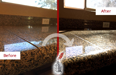 Before and After Picture of a Cleaned and Sealed Granite Countertop with Damaged Seam-line