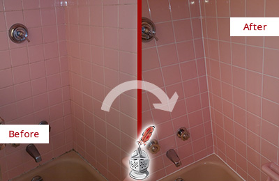 Picture of a Pink Bathtub Area Before and After a Bathroom Recaulking