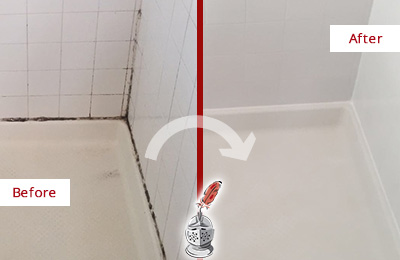 Picture of a White Shower with Moldy Grout and Caulking Before and After a Caulking Service