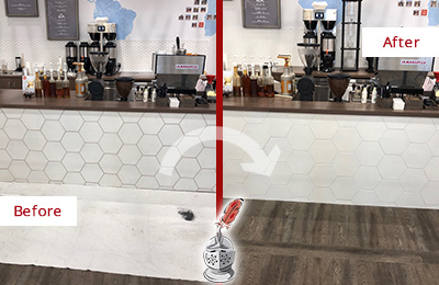 Before and After Picture of a Coffee Shop in a Book Store