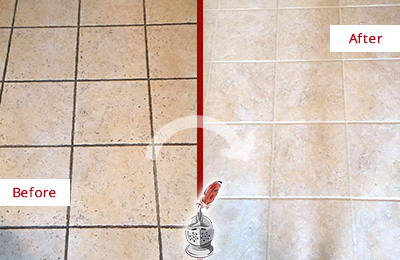 Before and After Picture of a Tile Floor Grout Cleaning