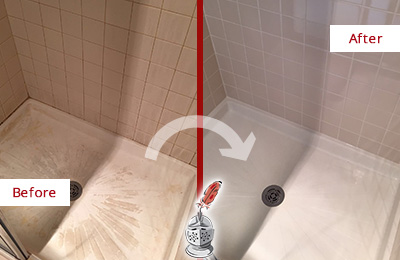 Before and After Picture of a Shower Cleaned and Sealed to Remove Mineral Deposits
