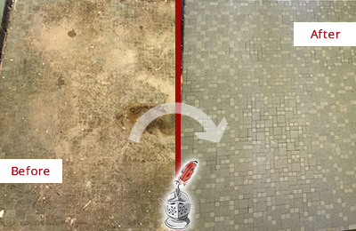 Before and After Picture of a Mosaic Tiles Floor with Embedded Dirt and Water Damage