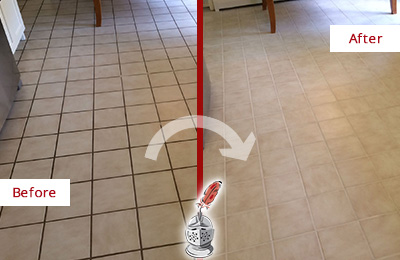 Before and After Picture of a Beechhurst Kitchen Tile and Grout Cleaned to Remove Embedded Dirt