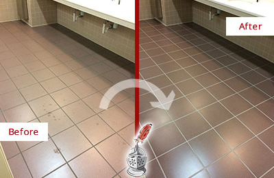 Before and After Picture of a Beechhurst Restrooms Tile and Grout Cleaned to Remove Embedded Dirt