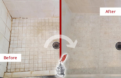 Before and After Picture of a Flatlands Shower Caulked to Fix Cracks