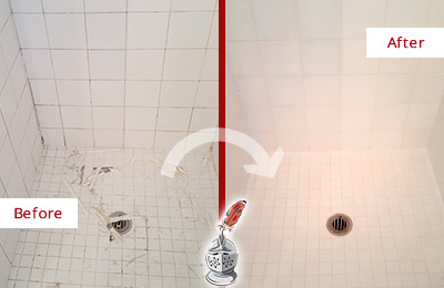 Before and After Picture of a Flushing Bathroom Re-Caulked To Repair Damaged Caulking