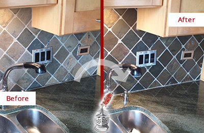 Before and After Picture of a Alphabet City Backsplash Caulked to Fix and Prevent Water Leaks