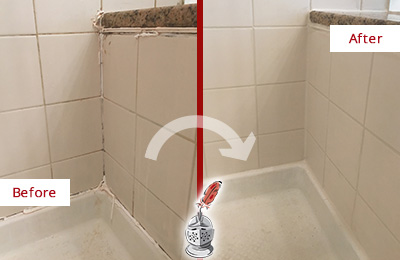Before and After Picture of a Alphabet City Shower Caulked to Repair Damaged Caulking