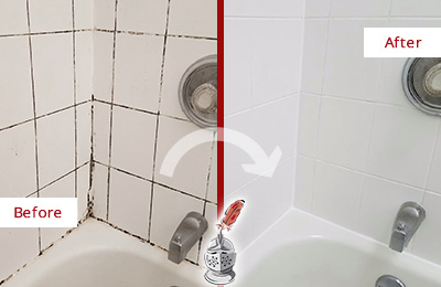 Before and After Picture of a Alphabet City Tub Caulked to Remove and Avoid Mold