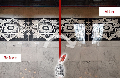 Before and After Picture of a Upper East Side Marble Stone Floor Polished to a Mirror Shine