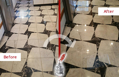 Before and After Picture of a Dull Beechhurst Marble Stone Floor Polished To Recover Its Luster