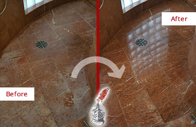Before and After Picture of a Beechhurst Marble Stone Shower Polished to Eliminate Mineral Deposits