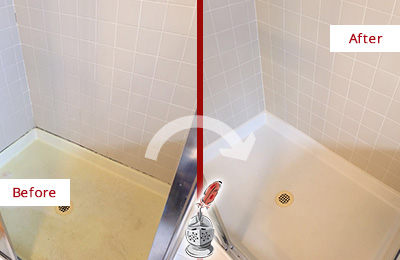 Before and After Picture of a Chelsea Shower Sealed to Remove and Protect Against Mold