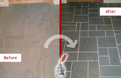 Before and After Picture of a Woodside Slate Floor Cleaned to Remove Deep-Seated Dirt