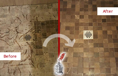 Before and After Picture of a Stained Fort George Marble Shower Floor Cleaned to Remove Etching