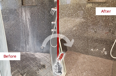 Before and After Picture of a Waterside Plaza Granite Shower Stone Sealed to Avoid Mineral Deposits