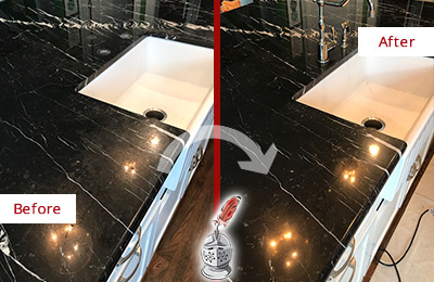 Before and After Picture of a Waterside Plaza Marble Kitchen Countertop Stone Sealed to Avoid Water Damage