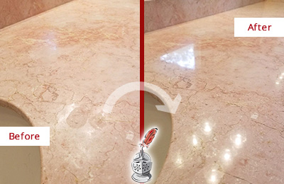Before and After Picture of a Waterside Plaza Marble Stone Vanity Top Sealed to Avoid Water Marks