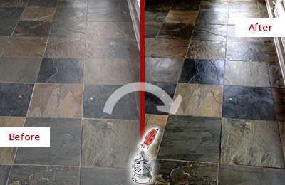 Before and After Picture of a Waterside Plaza Slate Stone Floor Sealed to Eliminate Dullness