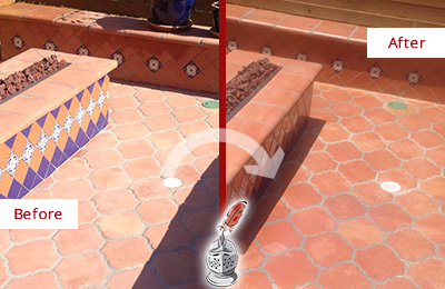 Before and After Picture of a Koreatown Hard Surface Restoration Service on a Dull Terracotta Patio Floor to Recover Its Color