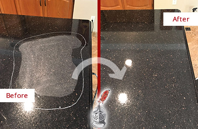 Before and After Picture of a Le Petit Senegal Hard Surface Restoration Service on a Granite Countertop to Remove Scratches